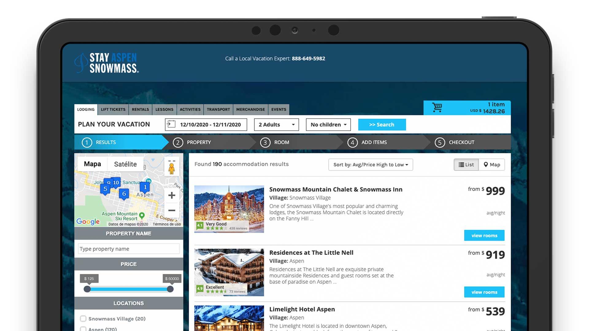 Stay Aspen Booking System Reservation Solution Mobile App Online Direct Laptop