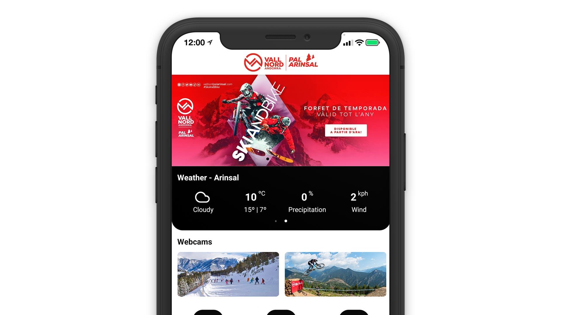 Vallnord App homescreen
