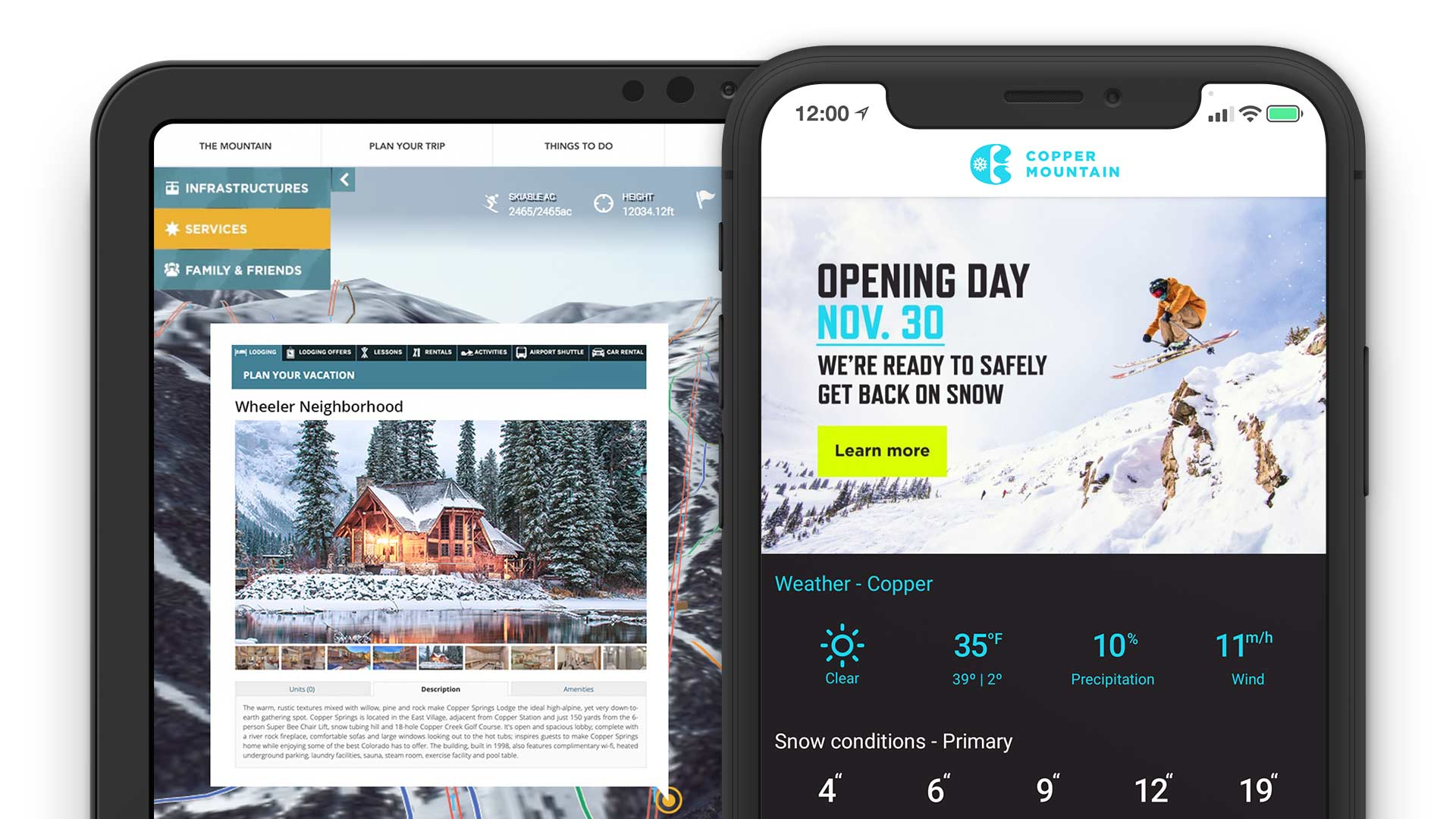 Copper Mountain Online Direct Booking System Reservation Solution Mobile App