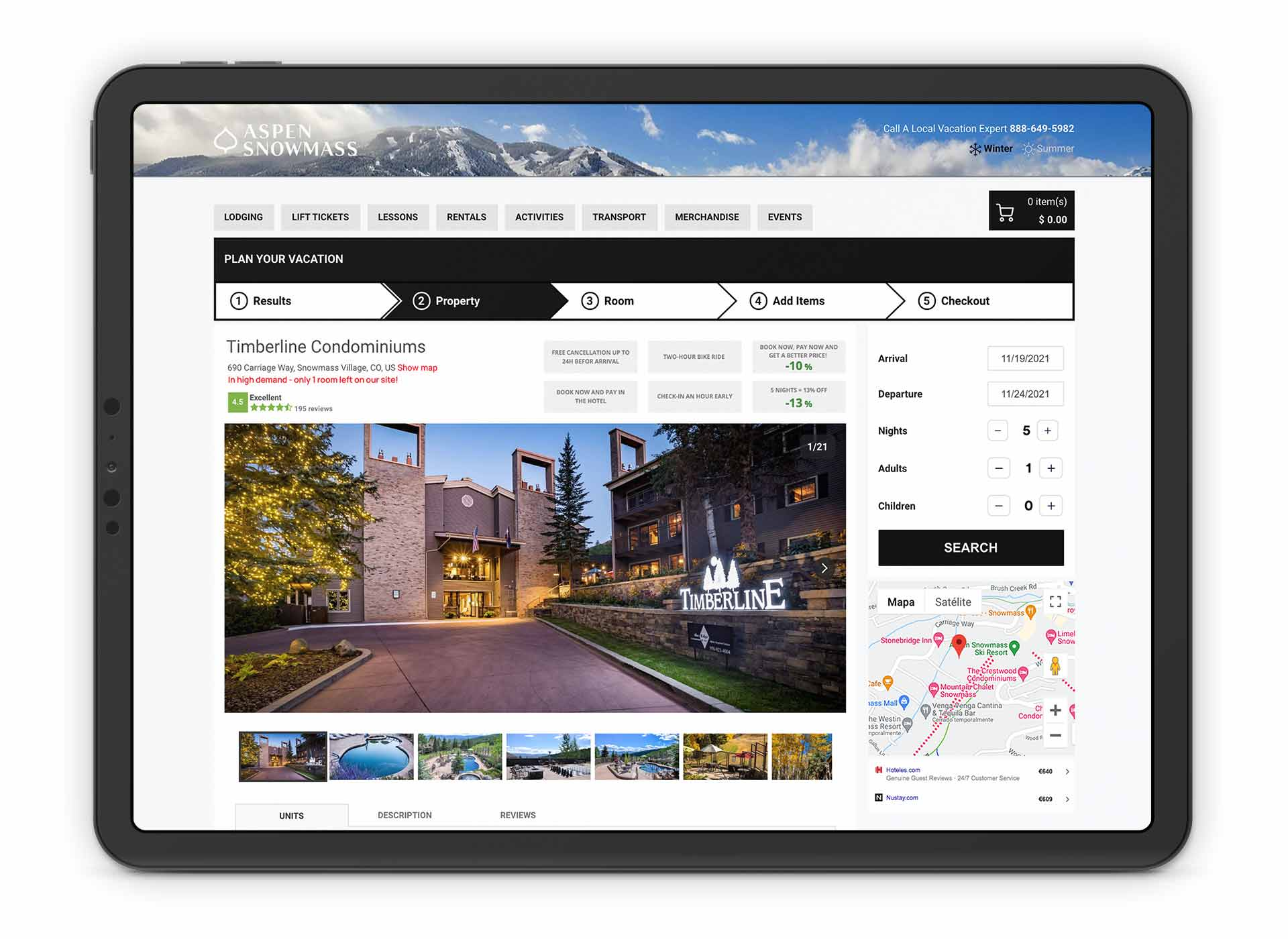 Aspen Snowmass direct booking layer by Spotlio