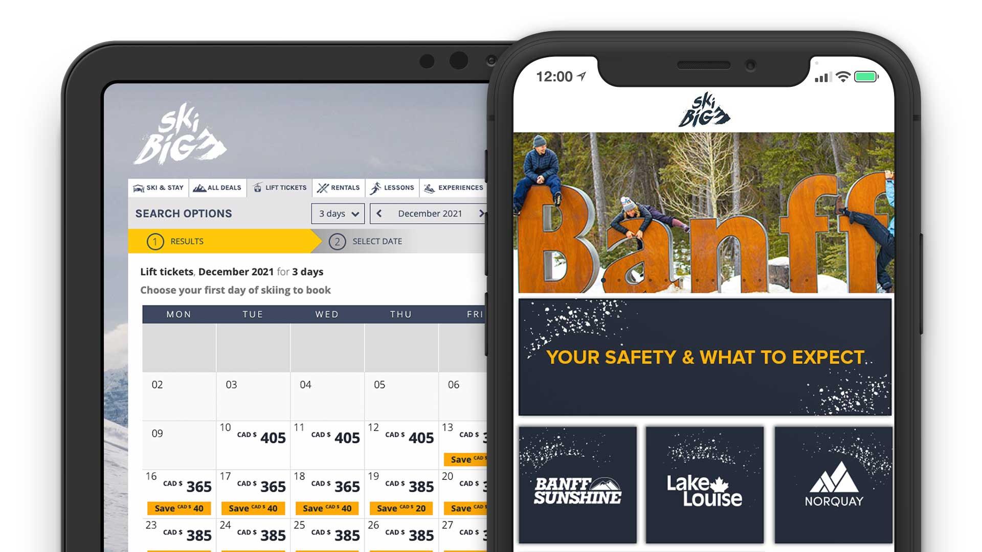 SkiBig3 Direct Booking System Reservation Solution Mobile App Online Laptop