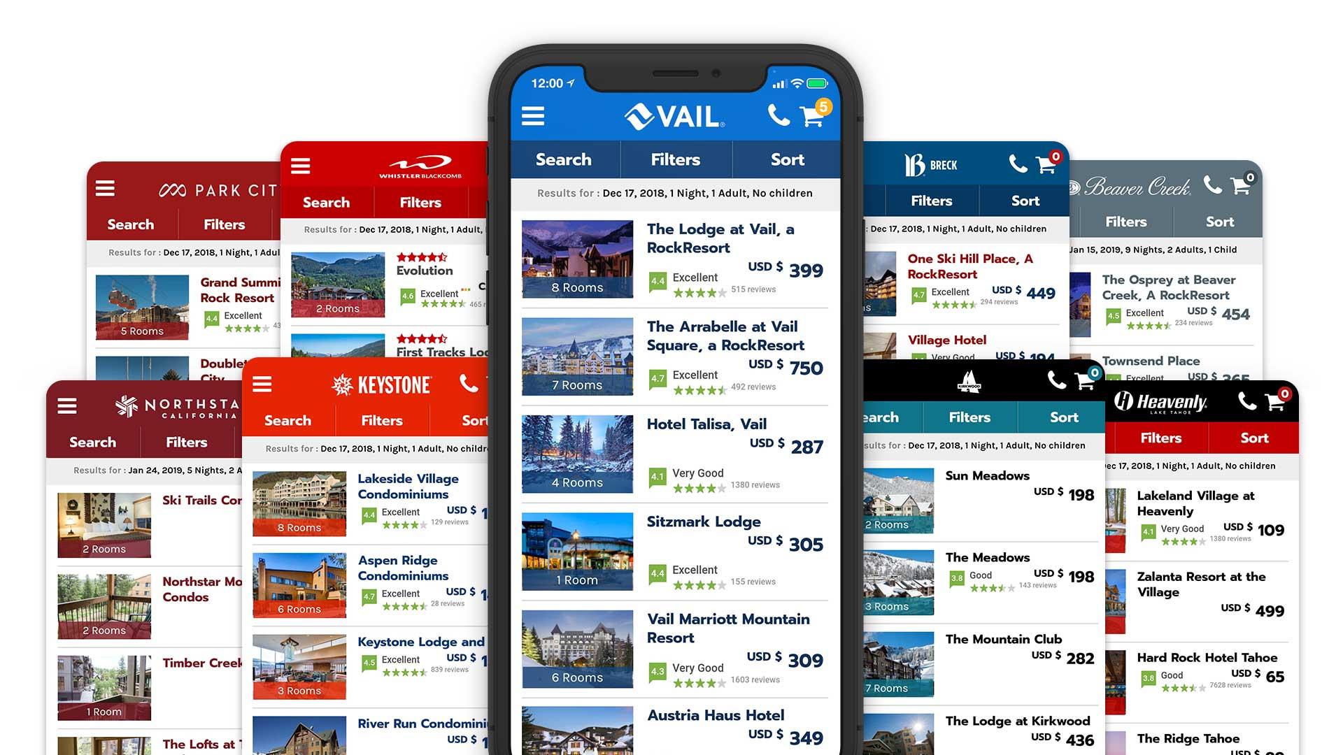 Vail Resorts Reservation Solution Mobile App Online Direct Booking System